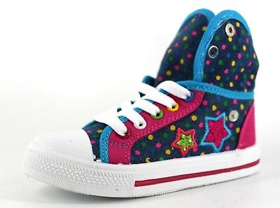 Goody 2 Shoes Infant Girls Pink & Blue Canvas Lace Up Fold Over Hi Top Trainers