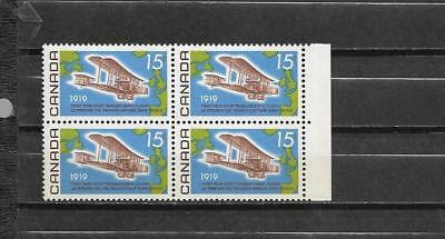 pk37516:Stamps-Canada #494i Vickers Vimy 15  cent Blocks of 4 Issue- MNH