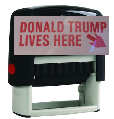 Donald Trump Lives Here Red Stock Stamp Traxx 9011  (Ideal 50 Size) USA SELLER