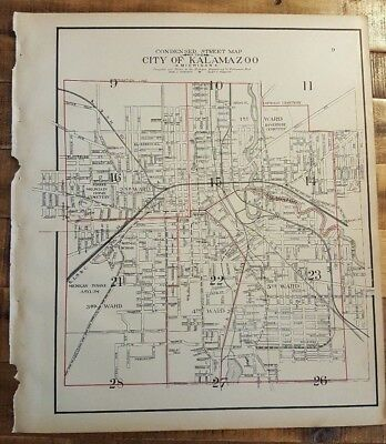 Antique STREET MAP OF THE CITY OF KALAMAZOO, Michigan - Ogle & Co. 1910