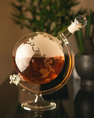 Glass World Novelty Globe Decanter Vodka Whisky 700ml Wine Spirit Carafe Gift