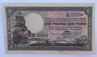 South Africa 1 Pound Banknote 1943 Low Number 000559, VF Condition  #Cb4
