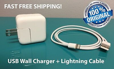 NEW OEM 12W USB Adapter Wall Charger for Apple iPad or iPhone + Lightning Cable