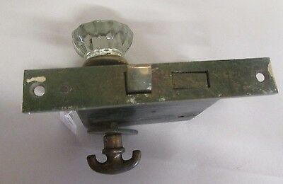 Antique Glass Door Knob Combination W/backplate Escutcheon Lock For Closet # 277