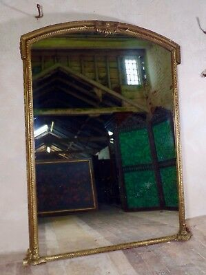 An Antique Victorian Exceptionally Large Gilt Overmantel Mirror Frame Foxing