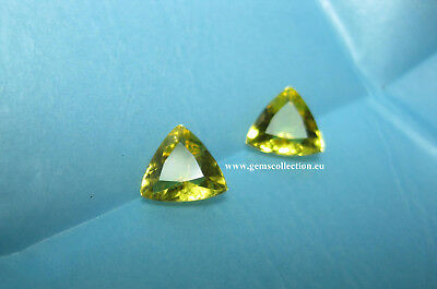Aaaa - Natural Beryl Heliodor Ct 1.89 Pair Vvs Golden Yellow Color Triangle Cut