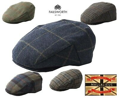English Tweed Cap Failsworth Hats Mallalieus British Tweed Checked Caps S-XXL