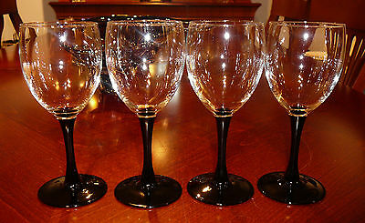 4 vintage LUMINARC FRANCE BLACK STEM WINE GLASSES 9 OZ