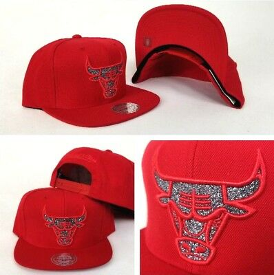 Mitchell & Ness NBA RED Chicago Bulls Silver Glitter Logo snapback Hat Cap