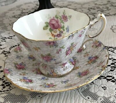 Hammersley Square Floral Teacup & Saucer