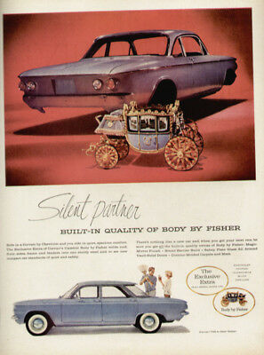 tva927 -1960 Vintage Ad-Print Corvair 700 4-door Body By Fisher Car Ad-Print