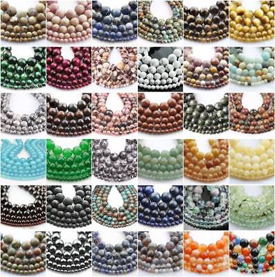 """HOT 15""""/Strand Natural Gemstone Round Stone Spacer Beads 4mm/6mm/8mm/10mm/12mm"""