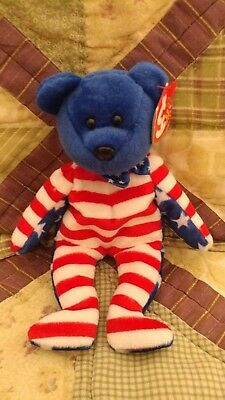 Ty Beanie Baby Babies, Blue Headed Liberty, Mint MWMT