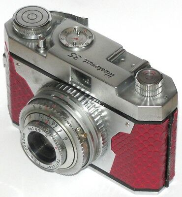 Vintage Westomat 35 Camera And Case. Display / Repair. Red Crocodile Skin