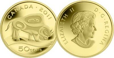 Wood Bison canada 2011 - 50 Cents - 1/25 Ounce Pure Gold Coin -