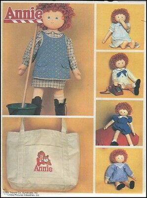 """Vintage Doll Clothes for 36"""" Annie + Tote Bag Sewing Pattern McCall's 8132 Uncut"""