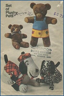 1970s Vintage Adorable Plush Bear or Dog + Clothes Stuffed Animal Sewing Pattern