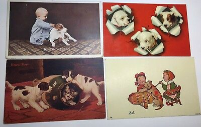 VINTAGE  POSTCARDS lot of 4 Variety, all dogs 3 unposted 1 posted 1908