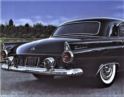 1955 Ford Thunderbird Classic Car Art Print from Painting 11x14