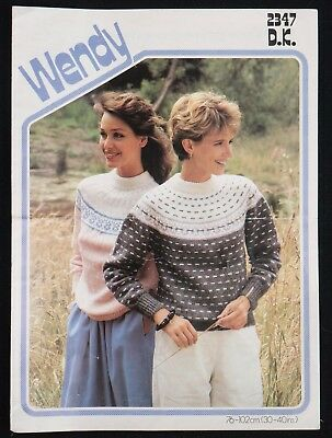 e96d3de62f Wendy Knitting Pattern 2347 Fair Isle Yoke Sweaters Ladies Vintage DK 30-40