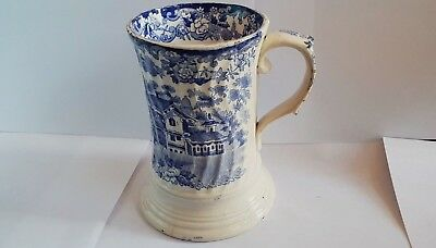 Mid to Late 19th Century  British Blue & White Mug - Alpine Theme