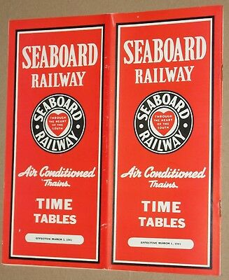 ***vintage 1941 Seaboard Railway Railroad Time Tables***w/ Map**exc!