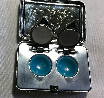 EXTREMELY RARE Vintage 1967 Rainbow OPT LAB Steel Contact lens case pill box