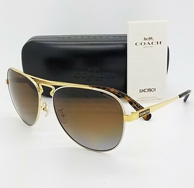 d570cd2df188 New Coach sunglasses HC7069 9295T5 60mm Gold Brown Polarized Aviator  AUTHENTIC