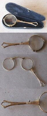 ANTIQUE GERMAN LUXURY GILT LORGNETTE FOLDING SPECTACLES / 19th CENTURY