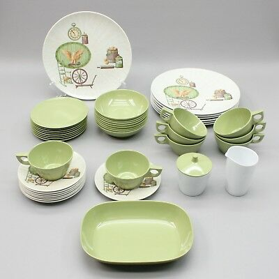 Vtg Texas-Ware Melamine Country 42 Piece Dish Set Dinnerware Dishes Incomplete