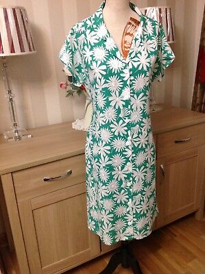 St Michael Vintage 70s Green White Mix Floral Dress Size-12 Made In Uk (J1)