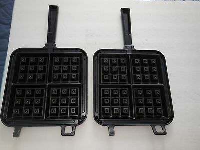 Black Nordic Ware Belgian Waffle Maker Camping Stovetop Come Apart Easy Cleaning