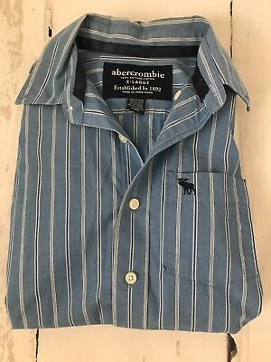 abercrombie Youth Boys Classic Woven shirt Blue White Striped Size XL Pre Owned