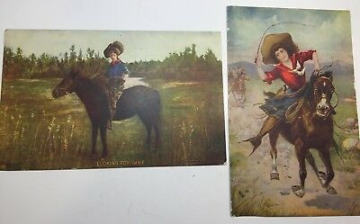 """VINTAGE WESTERN MOTIF POSTCARDS 2 """"The Belle of the Plain"""" & Looking For Game"""