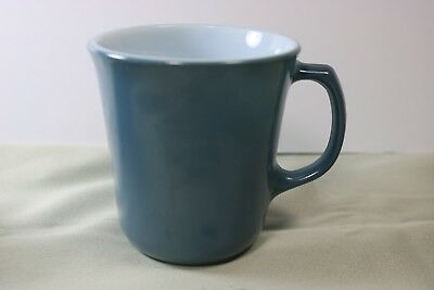 Vintage Solid Blue Slate Grey Mug (s) Corning Pyrex Glass USA White Center Cup