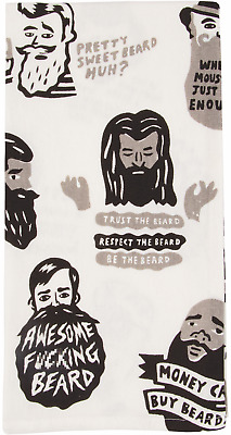 Blue Q Kitchen Dish Towel, Screen-Printed, Awesome F***ing Beard, White, New