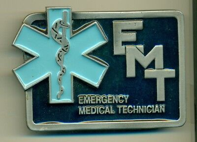 Belt Buckle - Vintage - Metal - Emt - Emergency Medical Technician