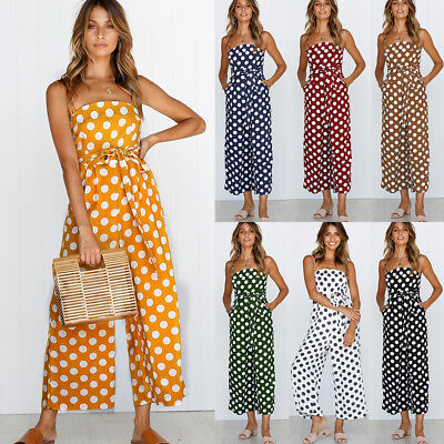 AU Women's Strappy Wide Leg Jumpsuit Ladies Party Spotted Backless Playsuit 6-18