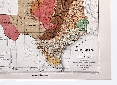 Map Of Texas 1880.1880 Texas Map Austin San Antonio Galveston Agricultural Original