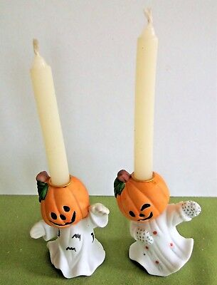 "Set of 2 Halloween Pumpkin Ghost Candle Holders Candles Included 3"" Tall EUC"