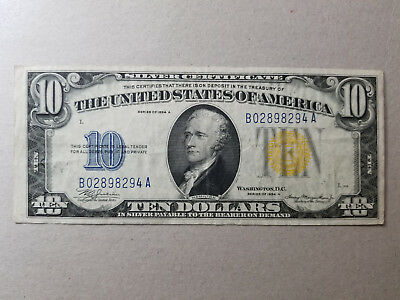 1934-A $10 North African Silver Certificate Yellow Seal