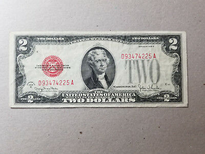 1928-G U.S. $2 Red Seal, United States Banknote - Legal Tender