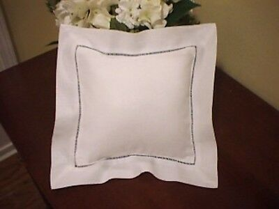 11 inch square white linen pillowcase and pillow embroidery or heat press blank
