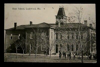 Old HIGH SCHOOL Bldg, Students, LOCKWOOD, MO Dade County, Missouri circa 1908
