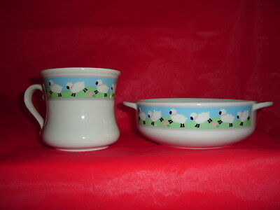 Baby Bowl & Cup Ceramic---Lamb Border