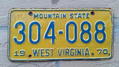 1970 West Virginia ~ Mountain State ~ Passenger License Plate #304-088  W VA