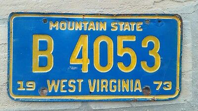 1973 West Virginia ~ Mountain State ~ TRUCK License Plate # B 4053  W VA