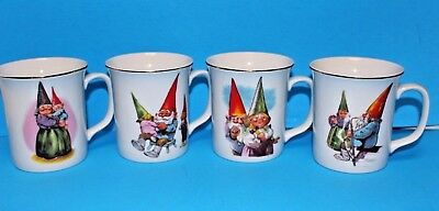 Vintage Set of 4 Gnome Mugs by RIEN POURTVLIET from Book GNOMES by Harry Abrams