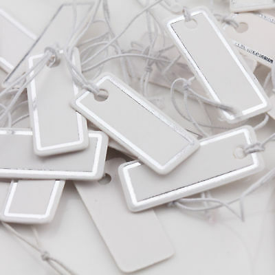 1000Pcs Silver White Paper Jewelry Label Price Tags Elastic String Craft 25x10mm