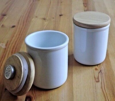 2 Pack Ceramic Airtight Pipe Tobacco Jar Humidor Case With Wooden Lid Humidifier